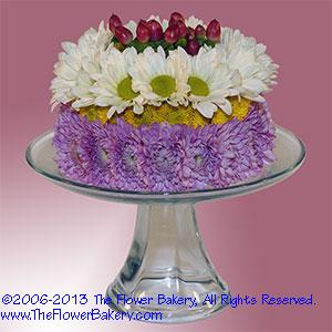 Berry Delight Flower Cake Red White Lavender Send Unique Arrangementsbirthday Gifts